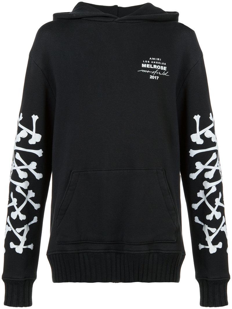 Amiri Bones Hooded Cotton Sweatshirt In Black