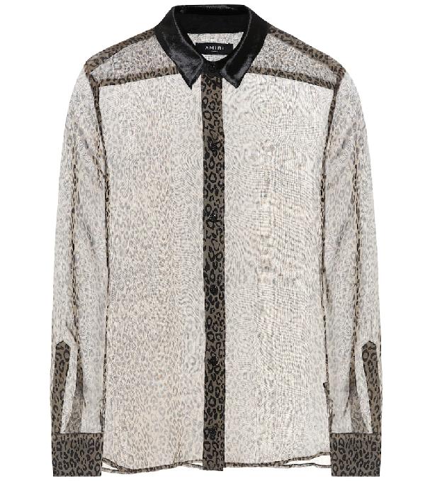 Amiri Brown Silk Sheer Leopard Print Shirt