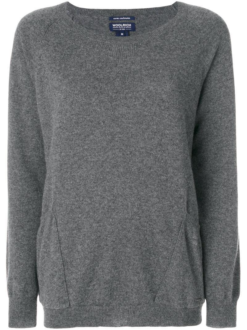 Woolrich Cashmere Pocket Jumper In Grey