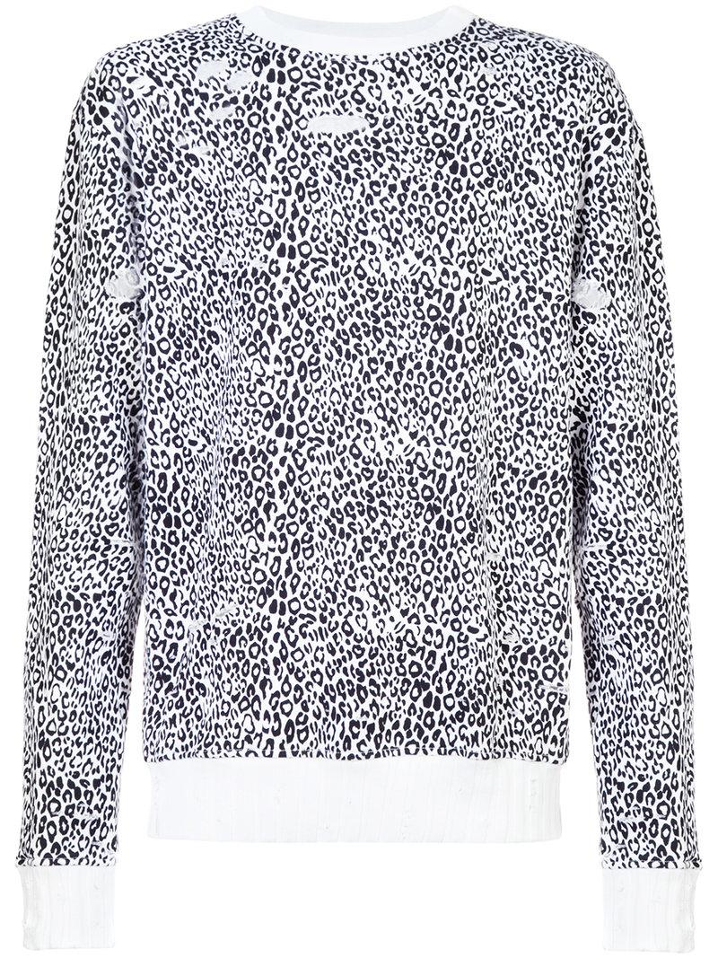 Amiri Distressed Leopard Crewneck Sweatshirt - White