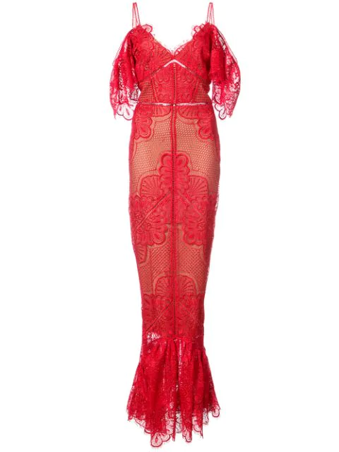 Marchesa Notte Navy Off The Shoulder Guipure Evening Gown In Red