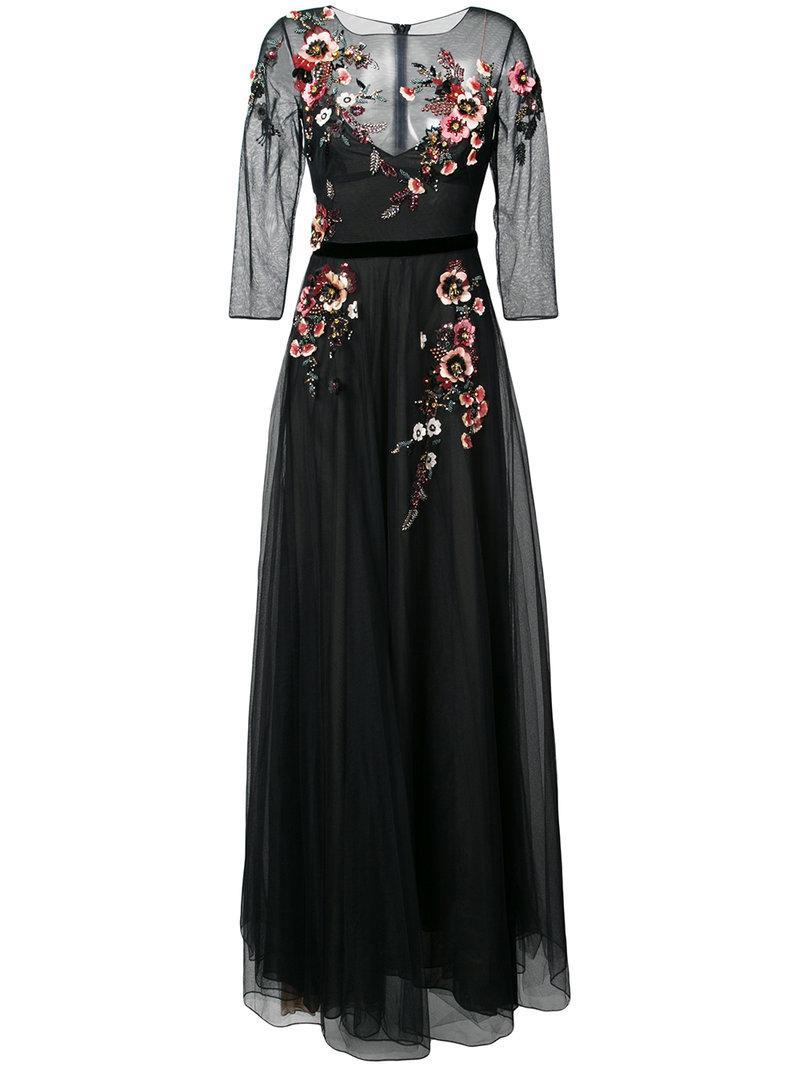 Marchesa Notte Embellished Floral Gown