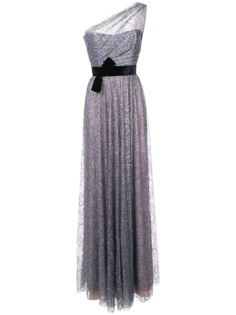 Marchesa Notte Glitter One Shoulder Gown In Grey