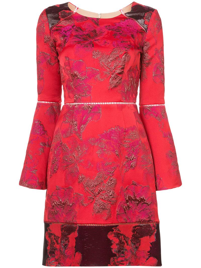 Marchesa Notte Floral Fitted Dress - Red