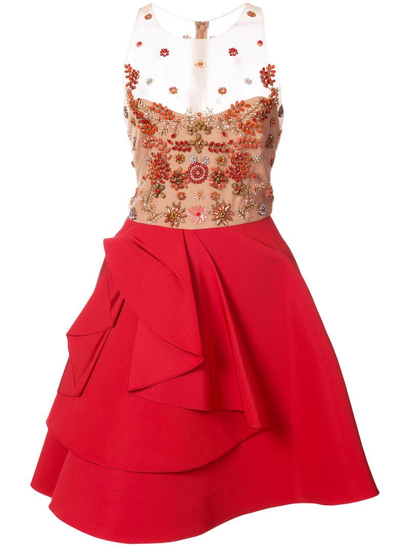 Marchesa Notte Sheer Embellished Ruffle Dress - Red