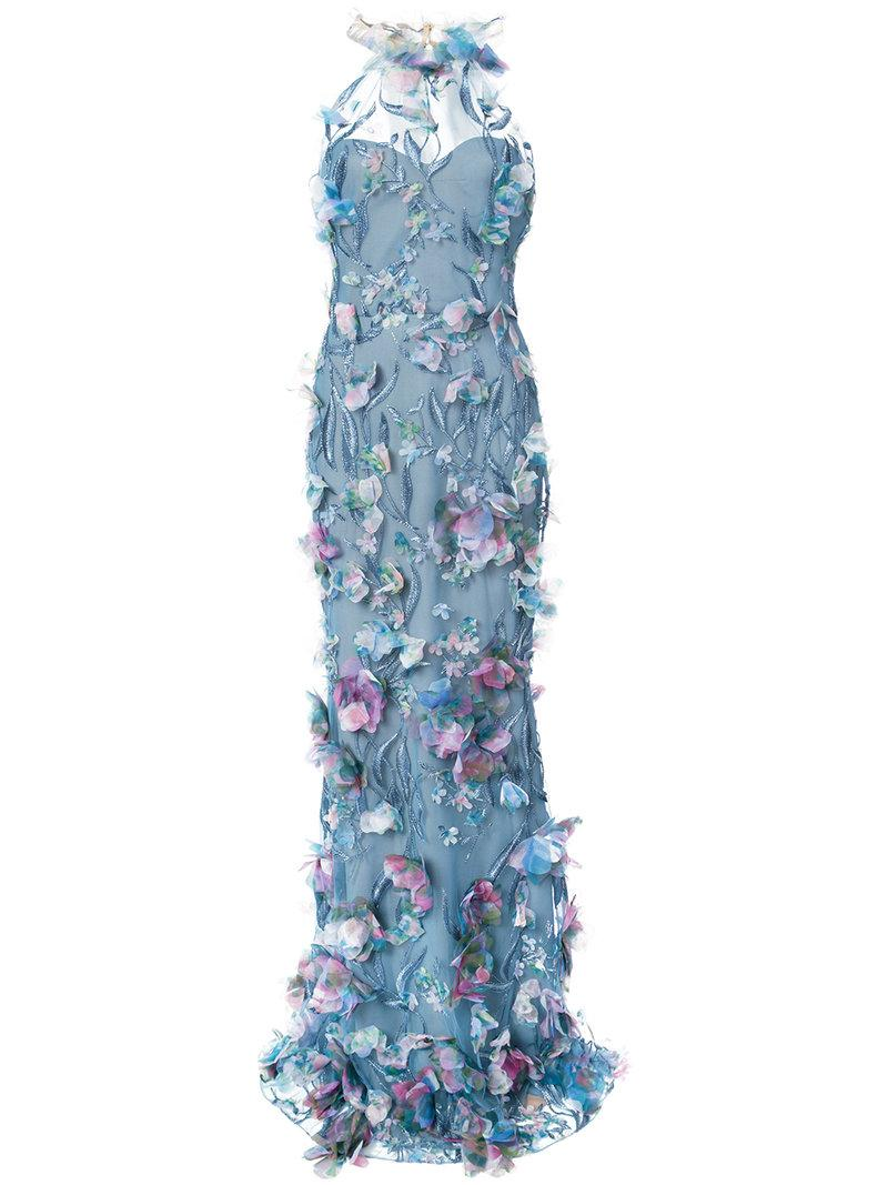 Marchesa Notte Embroidered Floral In Blue