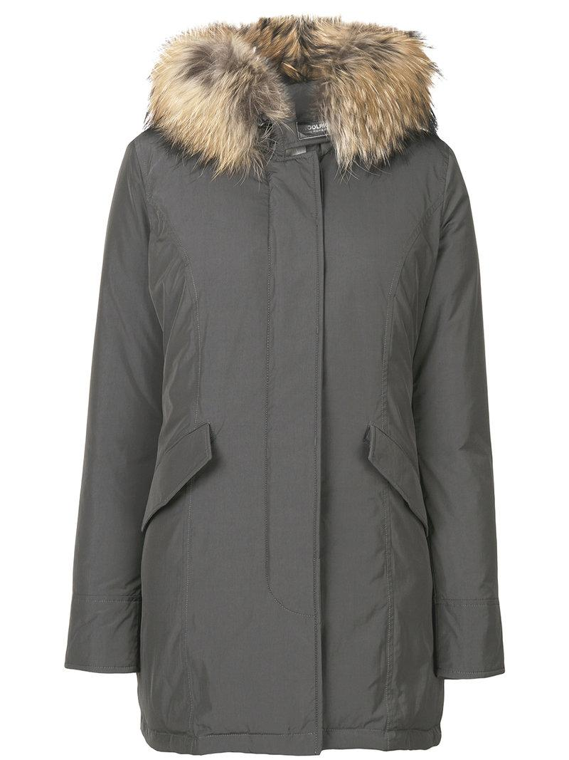 Woolrich Hooded Down Midi Coat In Grey