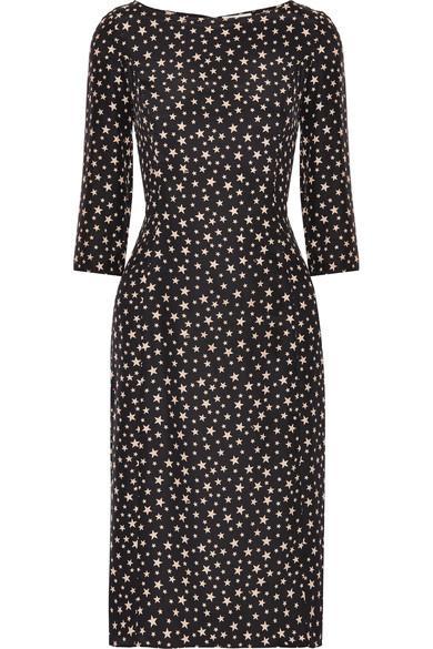 Hvn Clara Printed Silk-satin Dress