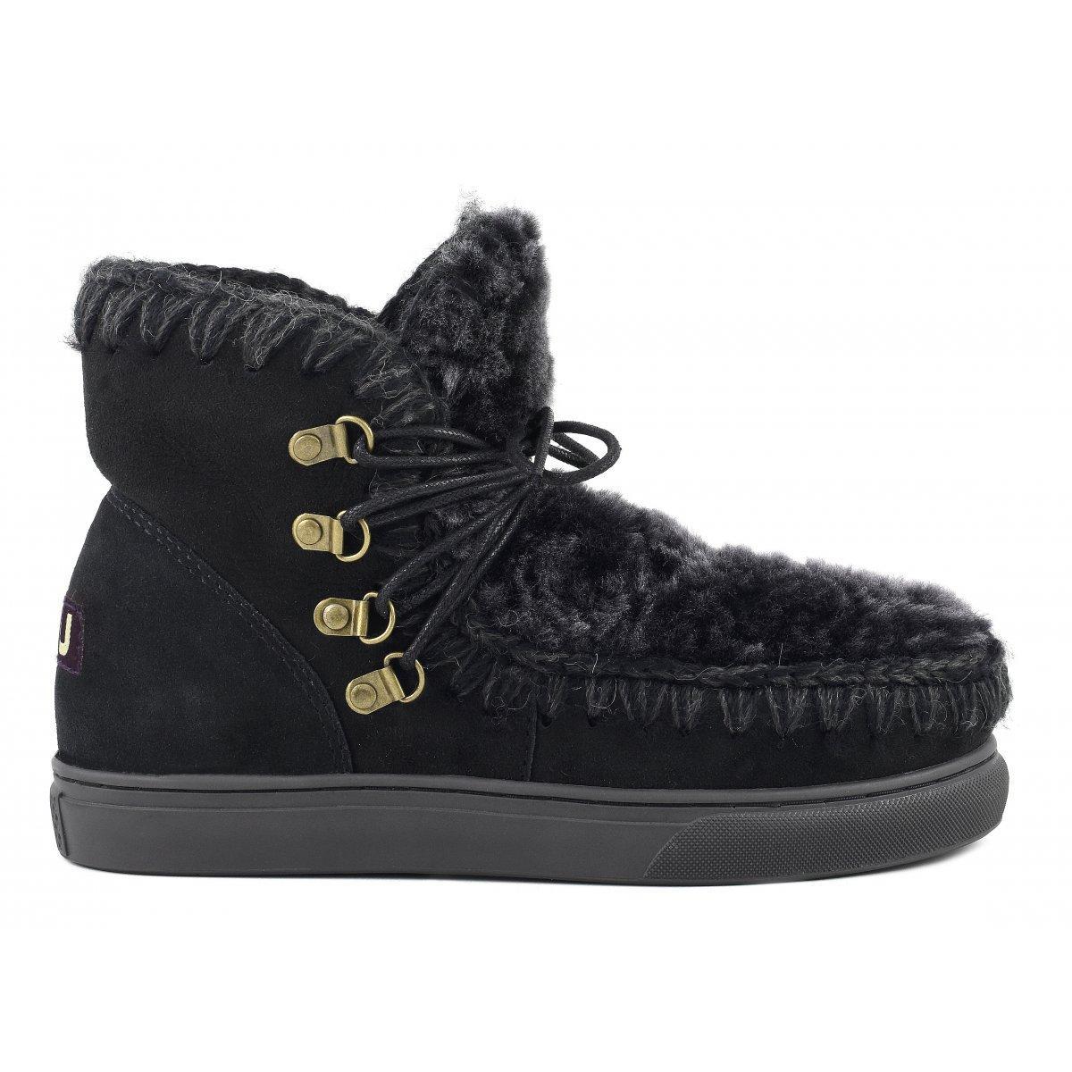 Mou Sneaker Laces & Front Fur In Bkflow