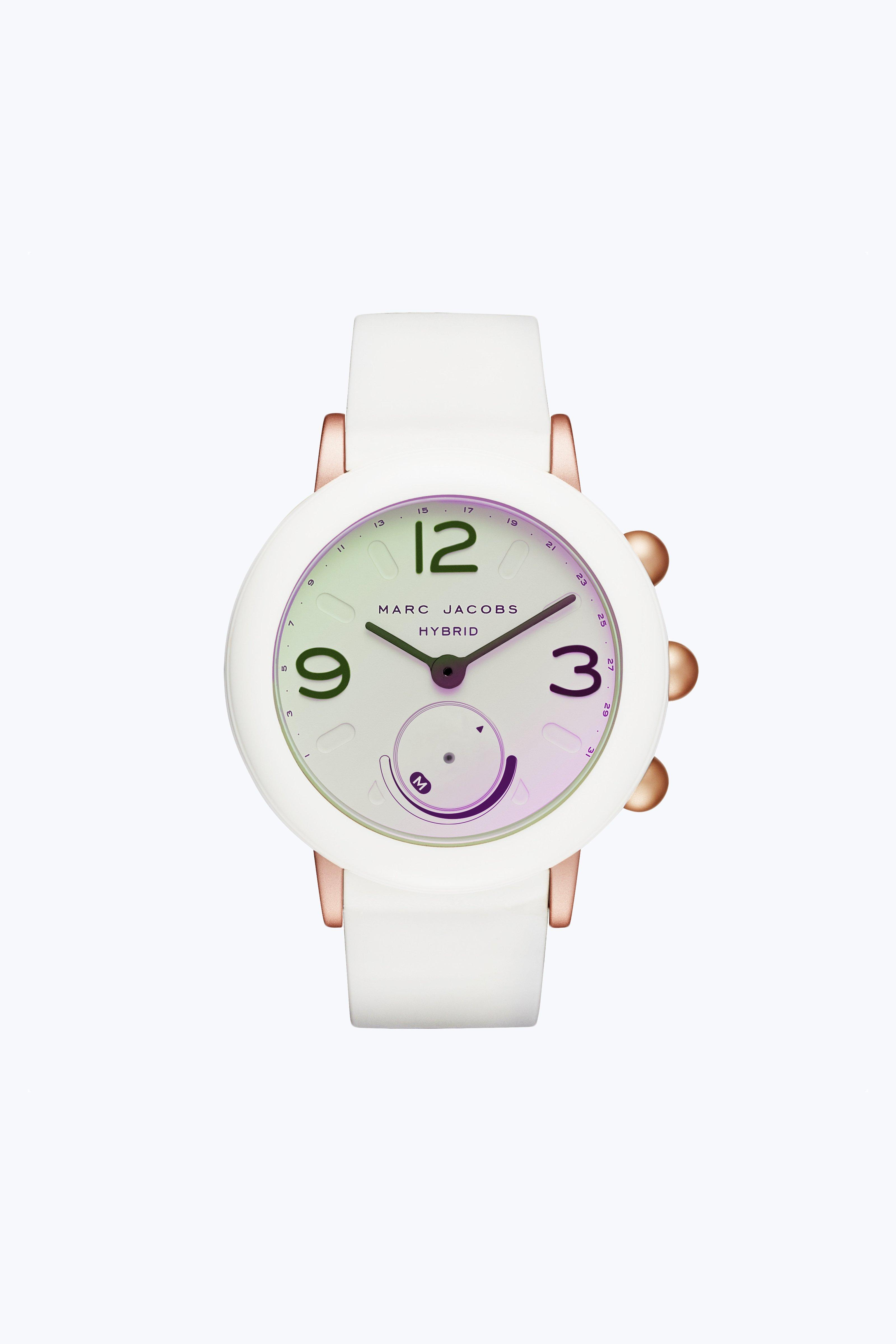 Marc Jacobs Riley Hybrid Smartwatch In White/rose Gold