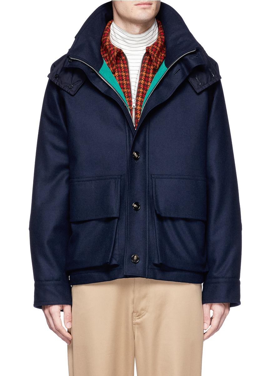 Marni Quilted Hood Wool Blend Melton Jacket In Blue