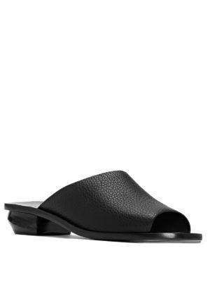 Mercedes Castillo Izar Leather Slide Sandals In Black