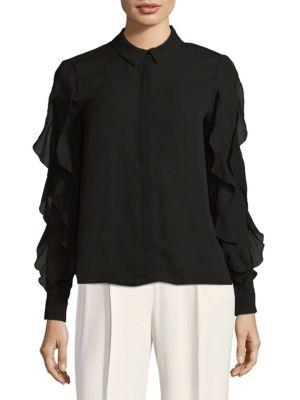 Endless Rose Cascading Ruffle Blouse In Black