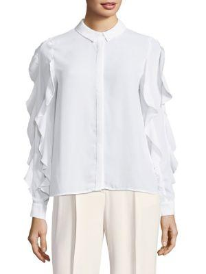 Endless Rose Cascading Ruffle Blouse In Off White