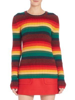 N°21 Striped Pullover Knit Virgin Wool Top