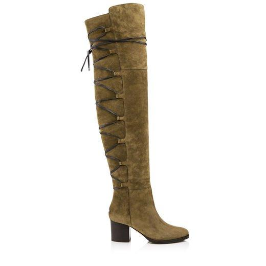Jimmy Choo Mayfair 65 Olive Suede And Leather Over The Knee Boots In Mink