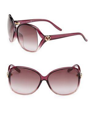 Gucci 62mm Oversize Logo Sunglasses In Purple