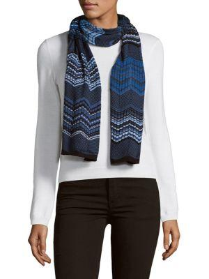 Missoni Patterned Wrap Scarf In Blue
