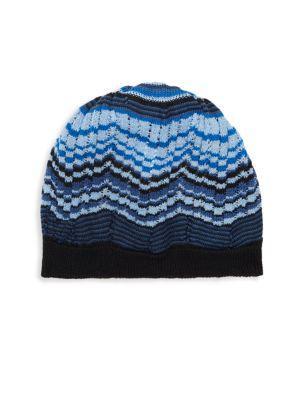 Missoni Herringbone Beanie In Blue