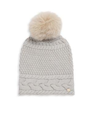 Yves Salomon Dyed Fox Fur Pom Pom Knitted Beanie In Light Grey