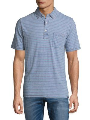 Faherty Striped Cotton Polo In Blue