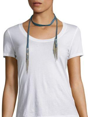 Chan Luu Chain-trim Embroidered Denim Neck Tie In Blue Denim