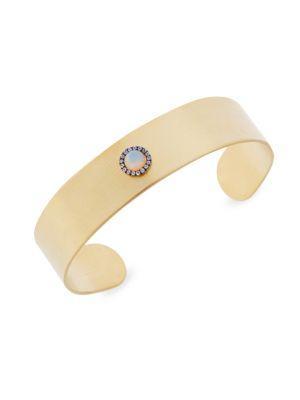 Ileana Makri Galaxy Sun White Sapphire & Opal Cuff In Yellow Gold