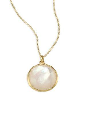 Ippolita Lollipop® Diamond & Mother-of-pearl Medium Pendant Necklace In Yellow Gold