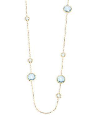 Ippolita Rock Candy® Blue Topaz Station Necklace In Yellow Gold