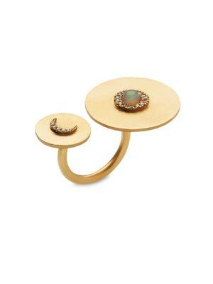 Ileana Makri Solar Eclipse White Sapphire & Opal Ring In Yellow Gold