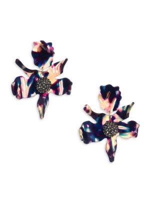 Lele Sadoughi Crystal Lily Clip-on Earrings In Multi
