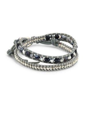 Chan Luu Grey Banded Agate Mix Double-wrap Bracelet