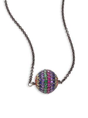 Ileana Makri Rainbow Bead Pendant Necklace In Gunmetal-multi