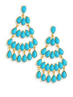 Kenneth Jay Lane Faux Turquouise Chandelier Earrings In Turquoise