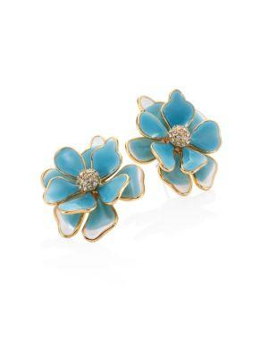 Kenneth Jay Lane Flower Crystal & Enamel Stud Earrings/blue In Turquoise