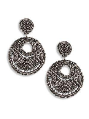 Kenneth Jay Lane Hematite & Seed Bead Clip-on Earrings