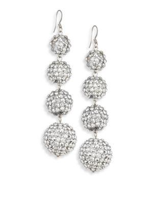 Kenneth Jay Lane Four-ball Crystal Drop Earrings In Silver