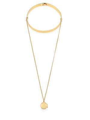 Lele Sadoughi Keepsake Choker & Pendant Necklace In Gold