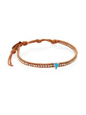 Chan Luu Turquoise, Sterling Silver & Leather Bracelet In Tan-turquoise