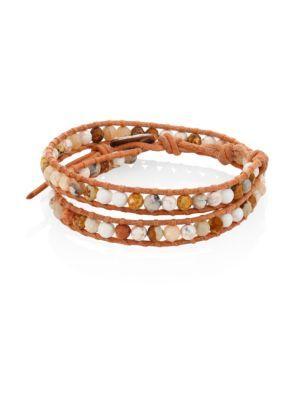 Chan Luu Jasper Mix Beaded Wrap Bracelet In Natural