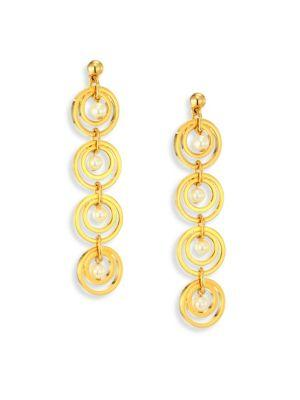 Lele Sadoughi Tiered Hoop & Faux-pearl Drop Earrings