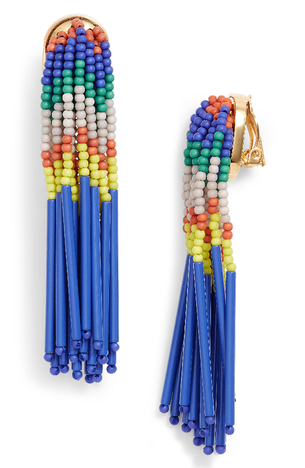 Lele Sadoughi Striped Bead Fringe Clip-on Earrings In Island Hue