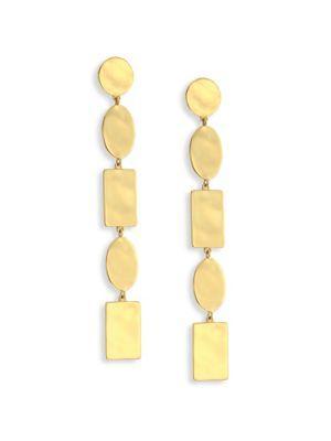 Ippolita 18k Senso Oval & Rectangle Discs Linear Earrings In Gold