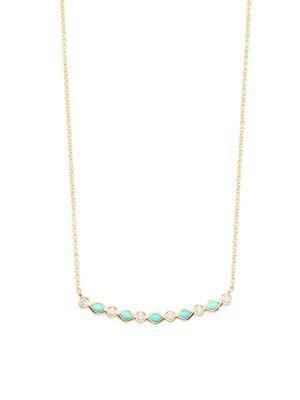 Sydney Evan Turquoise & Diamond Bar Necklace In Gold