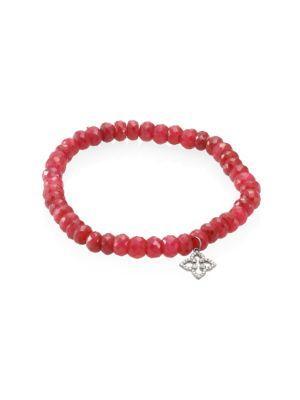 Sydney Evan Mini Morrocan Flower Diamond & Ruby Beaded Bracelet