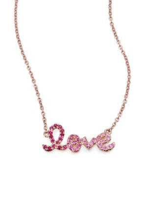 Sydney Evan Love OmbrÉ Ruby, Multicolor Sapphire & 14k Rose Gold Pendant Necklace In Pink-rose Gold