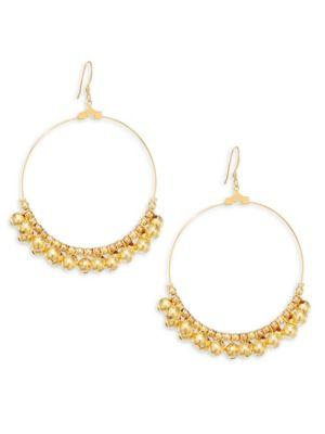 """Kenneth Jay Lane Embellished Circle Earrings/2"""" In Gold"""
