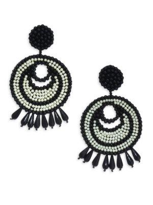 Kenneth Jay Lane Seed Bead Gypsy Hoop Clip-on Earrings In Black