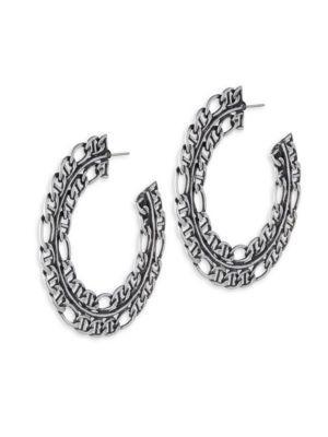"""Dannijo Hawk Chain Hoop Earrings/2.5"""" In Silver"""