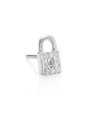 Sydney Evan Lock Diamond Single Stud Earring In White Gold